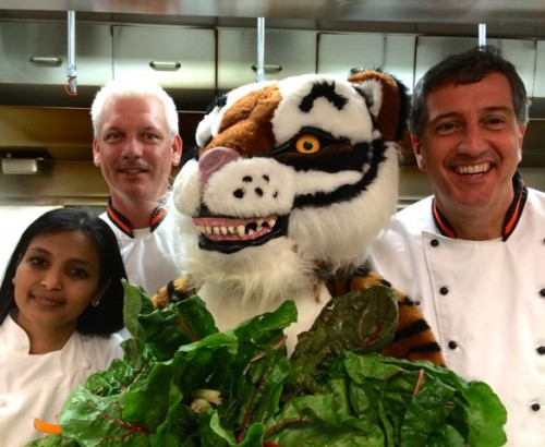 GARDEN STATE (CHARD) ON YOUR PLATE: From left, Smitha Haneef, Executive Director, Campus Dining; Rob Harbison, Executive Chef; the Princeton Tiger; Brad Ortega, Chef Manager; and Rick Piancone, Chef Manager (not pictured) are kicking off the Garden State on Your Plate program at all four public elementary schools in Princeton with a spotlight on Swiss chard grown by Jess Niederer, owner of Chickadee Creek Farm in Pennington.