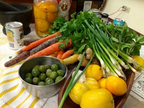 Preserved lemons, olives, multi-colored carrots and  scallions were among the ingredients available to the students.