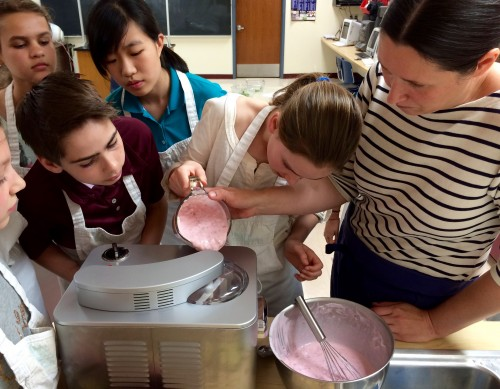 Chef Michelle Fuerst instructs on the finer points of home-made ice cream at a recent JW Cooks program.
